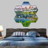 Vorderer Gosausee lake in the Austrian Alps, Europe hexagonal canvas wall art