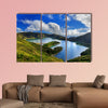 Lagoa do Fogo and green valley on San Miguel island of Azores multi panel canvas wall art