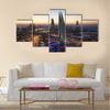 Manama City illuminated at night. Kingdom of Bahrain Multi panel canvas wall art