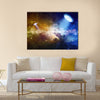 Abstract Scientific Scenery Of UFO In Deep Space Multi Panel Canvas Wall Art