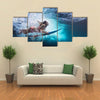 Young Girl In Bikini-Under Big Ocean Wave Family Lifestyle On Summer Vacation With Child Multi Panel Canvas Wall Art