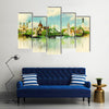 Watercolor Illustration BUDAPEST View Multi Panel Canvas Wall Art