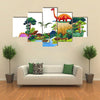Book Of Dinosaurs In The Forest Illustration Multi Panel Canvas Wall Art