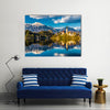 Amazing View on Bled Lake Island Church and Castle with Mountain Range in the Background-Bled Multi panel canvas wall art