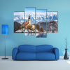 Lake Bled with St. Marys Church of the Assumption on the small island; Bled, Slovenia, Europe multi panel canvas wall art