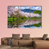 Kyoto, Japan in the spring at Daikaku-ji Temple's pond multi panel canvas wall art