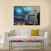 UFO Landing On A Beautiful Metropolitan City Multi Panel Canvas Wall Art