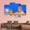 Christmas Market in Main Square, with Xmas Tree and lights, multi panel canvas wall art