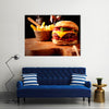 Fast Food homemade burger with chips or french fries for restaurant and menu cards Multi panel canvas wall art