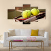 A shot of a tennis racquet and tennis balls Multi panel canvas wall art
