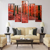 Trees with red autumn leafs in Sonian Forest near Brussels Multi panel canvas wall art
