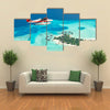 The Seaplane Flying Over The Maldives Oslands, Raaato, Multi Panel Canvas Wall Art