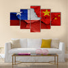 Flags of Chile and China painted on cracked wall Multi panel canvas wall art