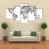 World map made of flowers multi panel canvas wall art