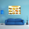Collection of delicious Continental food in vector Multi panel canvas wall art