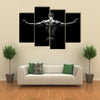 muscular young man with his arms stretched out on black background Multi panel canvas wall art