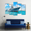 Navy Ship On A Waterbody Going To Face The Enemeny's Navy, Multi Panel Canvas Wall Art