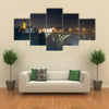 The Night Skyline Of The Luxembourg At The Adolph Bridge, A Historic Place In Europe, Multi Panel Canvas Wall Art