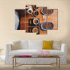 Overhead shot of a professional barista pouring hot water from a stainless steel kettle Multi Panel Canvas Wall Art