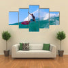Surfer on Amazing Blue Wave, Bali island Multi panel canvas wall art