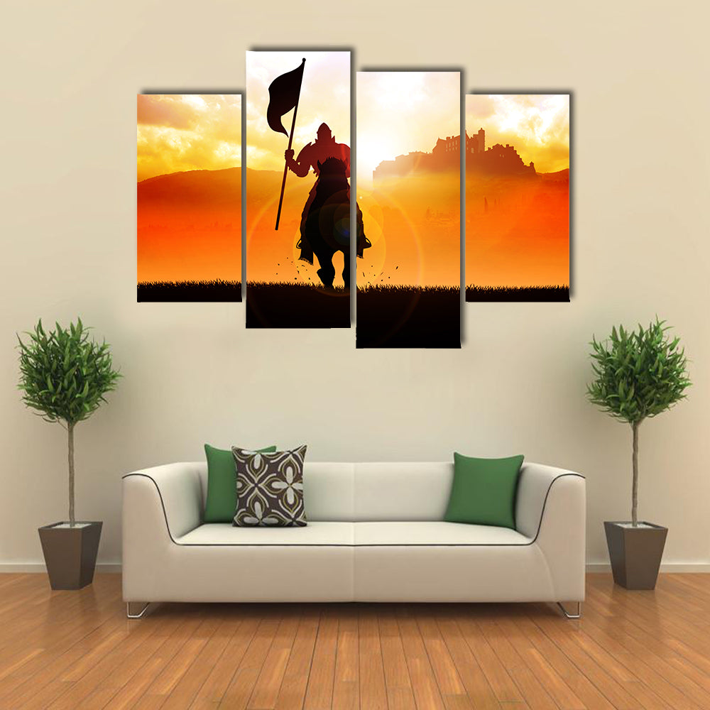 Silhouette of a medieval knight on horse carrying a flag Multi panel canvas wall art
