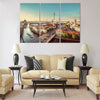 Aerial view of Berlin skyline with famous TV tower and Spree river Multi panel canvas wall art