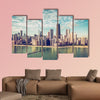 Chicago Skyline aerial view skyscrapers by the beach, vintage colors multi panel canvas wall art