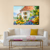 Oil painting landscape, house in the flower garden Multi Panel Canvas Wall Art