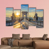 Chain Bridge when sunrise, Budapest, Hungary multi panel canvas wall art