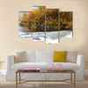 waterfall in the autumn woods, norway multi panel canvas wall art