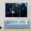 Glowing planet in space nebula and stars Multi Panel Canvas Wall Art