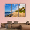 Rainbow scenic view over the popular surfing place Sunset Beach multi panel canvas wall art