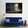 Beautiful Fantasy Tropical Beach Scenery With Milky Way Multi Panel Canvas Wall Art