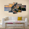 Sunset over Positano near Sorrento at Amalfi Coast in Italy Multi Panel Canvas Wall Art