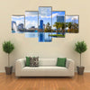 Orlando skyline lake in Florida USA with palm trees Multi panel canvas wall art
