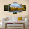 scenery in nature of river with trees around in Belarus Multi panel canvas wall art