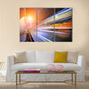 Bus speeding through night street. Hong Kong multi panel canvas wall art