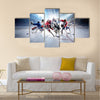 Collage of professional hockey players in action Multi panel canvas wall art