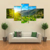 Beautiful sunrise in high mountains and blue sky, Andorra, Pyrenees Multi panel canvas wall art