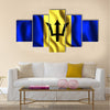 Flag of Barbados Rectangular Shape Icon with Wavy Effect Multi panel canvas wall art