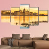 View of Budapest parliament at sunset, Hungary multi panel canvas wall art