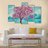 Blooming sakura on water oil painting Multi Panel Canvas Wall Art