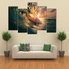 A Rough Colored Ocean Wave Falling Down At Sunset Time,Multi Panel Canvas Wall Art