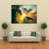 A Rough Colored Ocean Wave Falling Down At Sunset Time, Multi Panel Canvas Wall Art