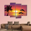 Beautiful Sunset and stars at the seaside in the background Multi panel canvas wall art