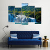 Beauty Of The Waterfalls Under The Dark Sky, Multi Panel Canvas Wall Art
