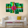 Rectangular Shape Icon Of Flag of Dominica With Wavy Effect Multi Panel Canvas Wall Art