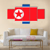 Flag of North Korea, the Democratic People's Republic of Korea multi panel canvas wall art
