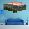 Wonderful sky of tea plantation in Doi Angkhang, Chiang Mai, Thailand multi panel canvas wall art