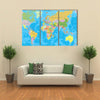 Colored World Map-borders, countries and cities, illustration multi panel canvas wall art